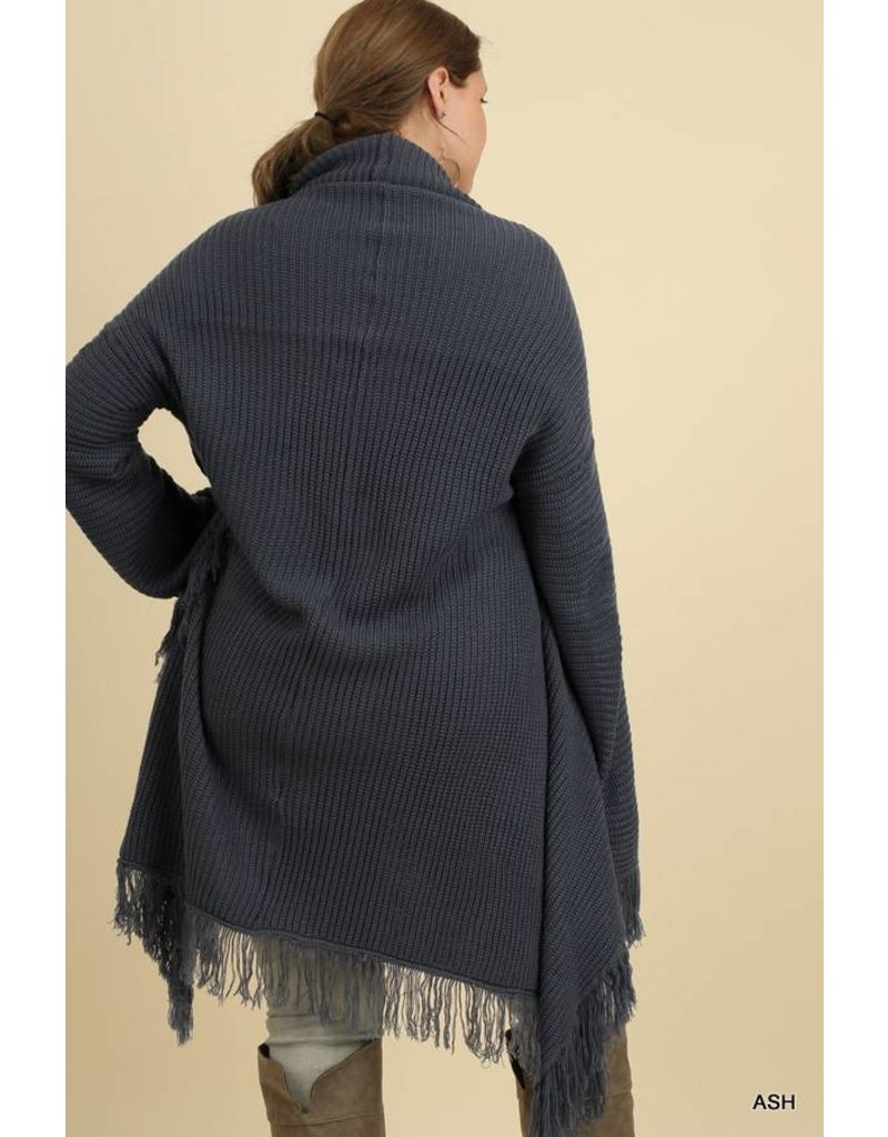 Umgee Open Front Sweater w/Fringe Details