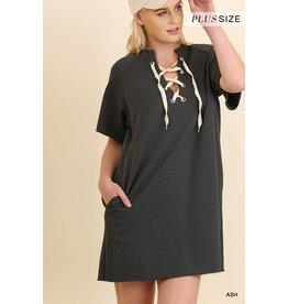 Umgee S/S Pocket Dress w/Drawstring Neckline