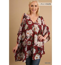 Umgee Floral Print Cold Shoulder Tunic