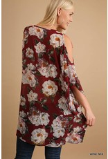 Umgee Floral Print Cold Shoulder Tunic