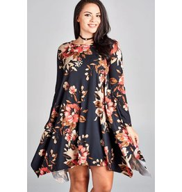 Oddi L/S Floral Jersey Knit Dress w/Raw Edge