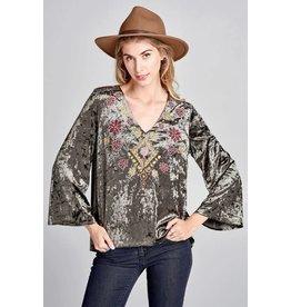 Oddi Bell Sleeve Velvet Tunic w/Embroidery