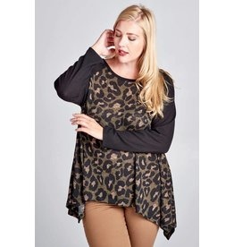 Oddi Cheetah Print Knit Blouse w/Blk Sleeve