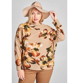 Oddi Floral Print Top w/Loose Turtleneck Collar