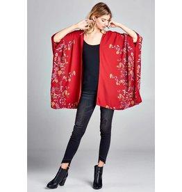 Oddi Floral Printed Kimono w/X Back