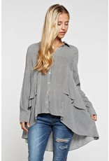 See and Be Seen Striped & Ruffled Detailed Hi-Lo Blouse