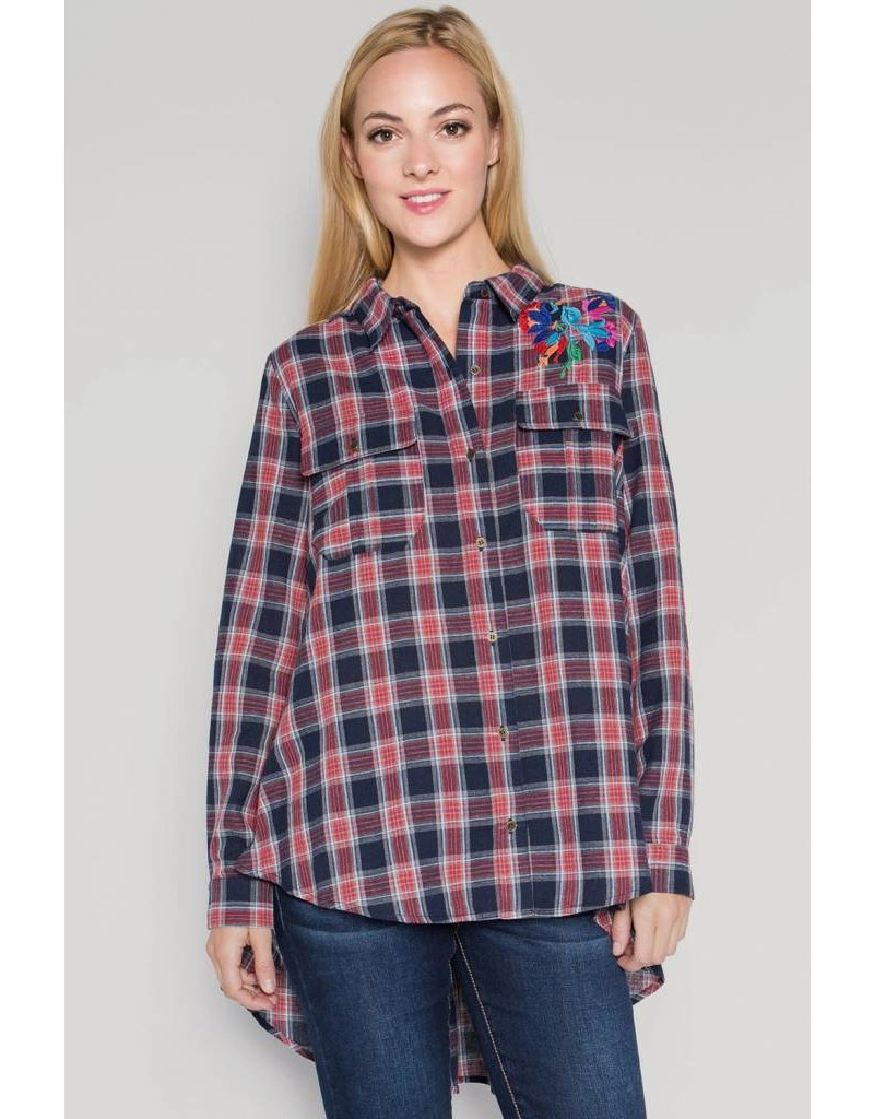 See and Be Seen Plaid Hi-Lo Tunic w/Emb