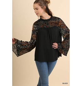 Umgee Paisley/Floral/Velvet Bell Sleeve Blouse