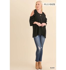 Umgee Ruffle Cold Shoulder Blouse