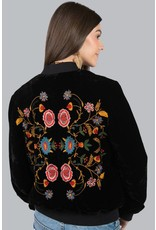 Ivy & Jane Velvet Bomber Jkt w/Floral Embroidered Back