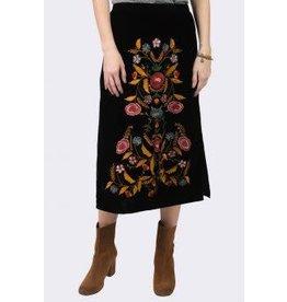 Ivy & Jane Velvet Skirt w/Floral Embroidered Front