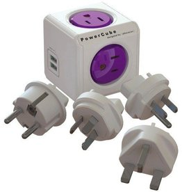 PowerCube Allocacoc 4-Outlet PowerCube ReWirable Plug with 2 USB Ports