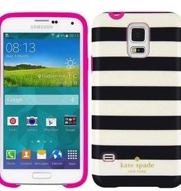 Kate Spade New York Kate Spade Hybrid Hardshell Case Samsung Galaxy S5- Cream/Black Striped