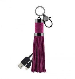 Rebecca Minkoff Rebecca Minkoff Power Tassel Keychain (Lightning) - Soft Berry Suede/Gunmetal
