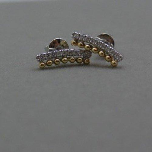 Dana Rebecca White and yellow gold bar earrings