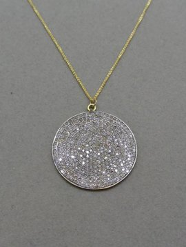 Lera Jewels Pave Disc Necklace