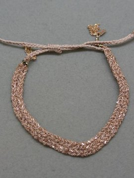 Marie-Laure Chamorel Pink Chain and Silk Bracelet