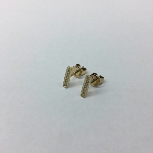Dana Rebecca Yellow Gold Bar Earrings