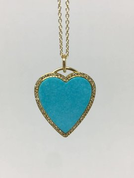Jennifer Meyer Turquoise Heart Necklace