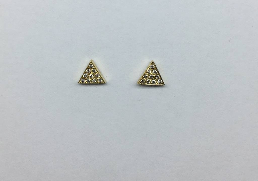 Jennifer Meyer Pave Diamond Triangle Earrings