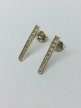 Jennifer Meyer Long Diamond Bar Earrings