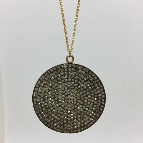 Lera Jewels Black diamond disc necklace