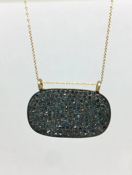 Lera Jewels Blue Pave Oval Necklace