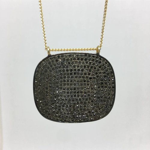 Lera Jewels Pave Sqaure Necklace