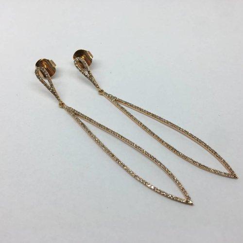 Lera Jewels Rose Gold Diamond Teardrop Earrings