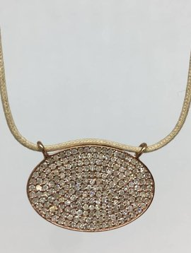 Lera Jewels Pave Oval Necklace