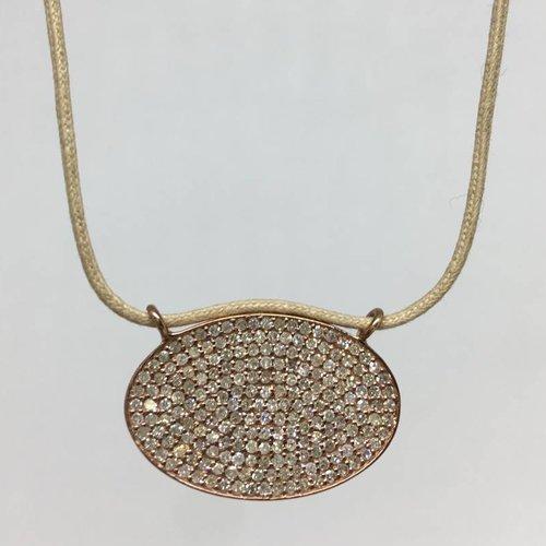 Lera Jewels Pave oval diamond necklace