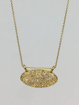 Lera Jewels Mini Pave Oval Necklace