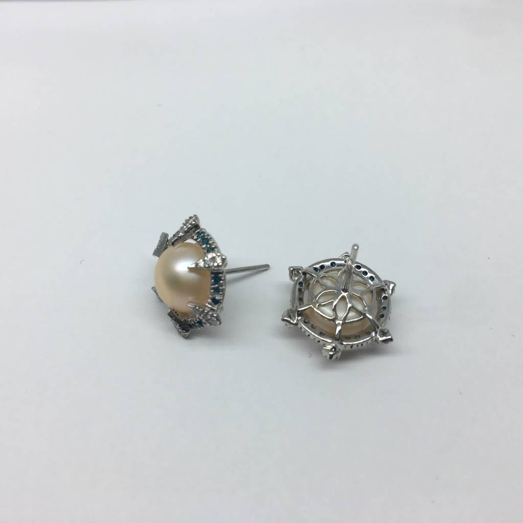 United Gemco Pearl and Diamond Studs
