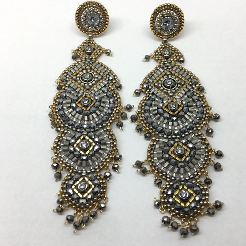 Miguel Ases Pyrite drop earrings