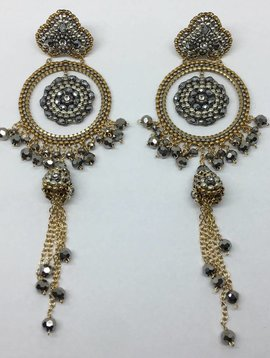Miguel Ases Pyrite Beaded Drop Earrings