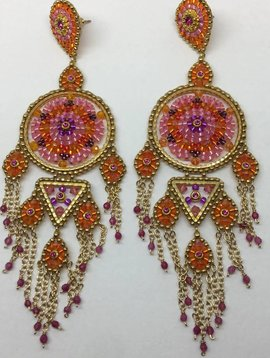 Miguel Ases Pink Beaded Drop Earrings