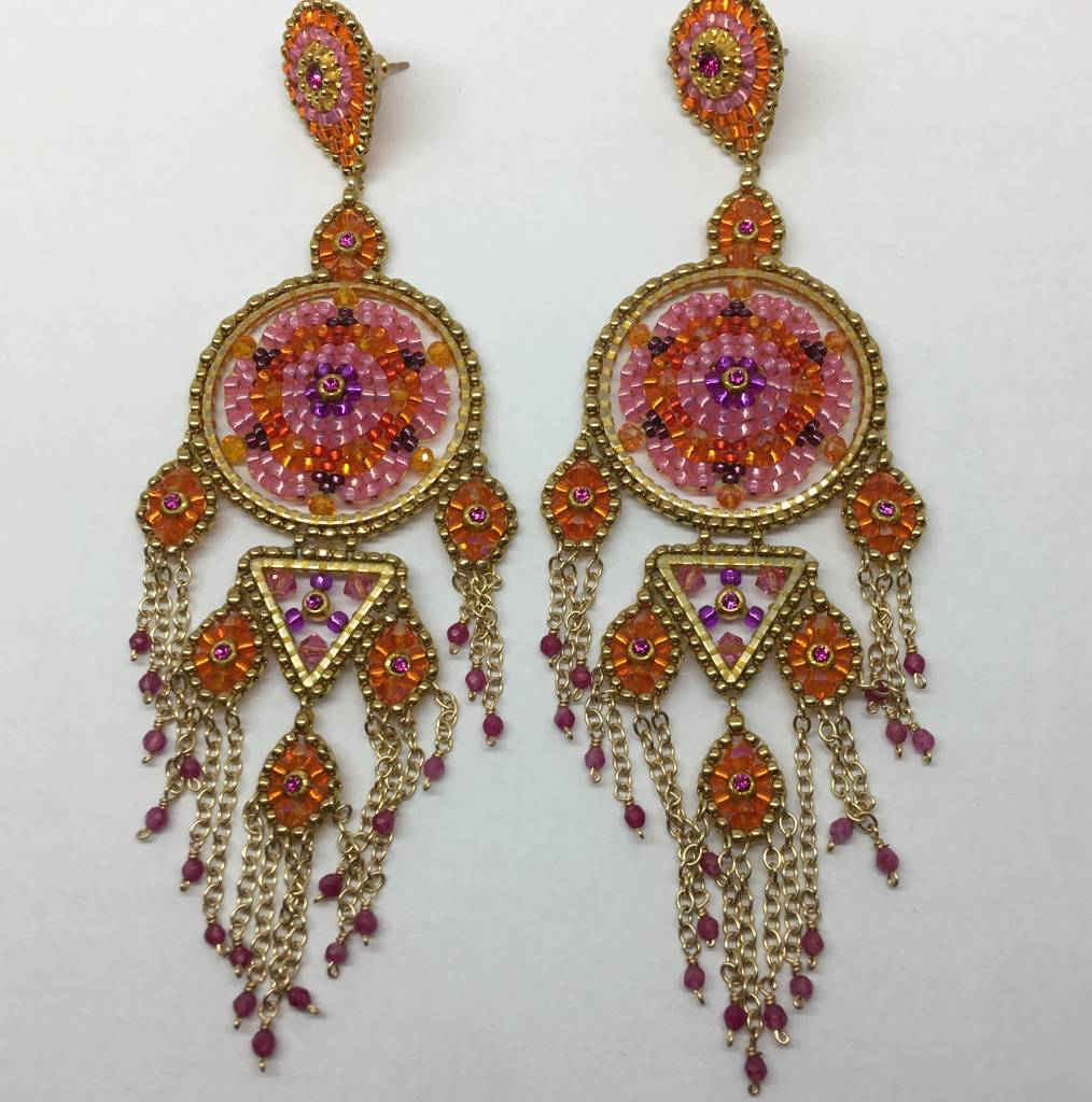 Miguel Ases Large pink beaded drop earrings