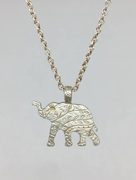 Me&Ro Silver Paisley Elephant Necklace