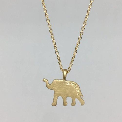 Me&Ro Gold Paisley Elephant Necklace