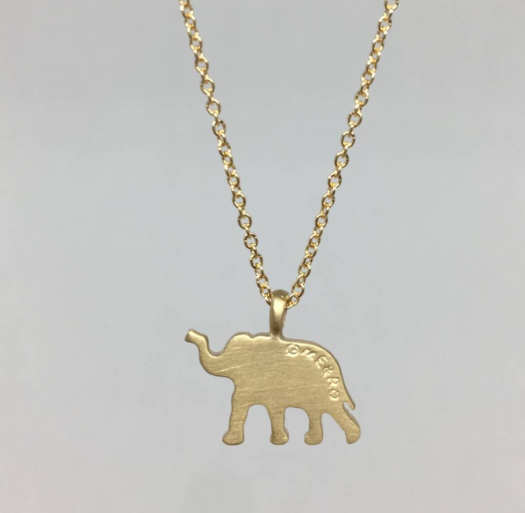 Me&Ro Gold Paisley Elephant Necklace
