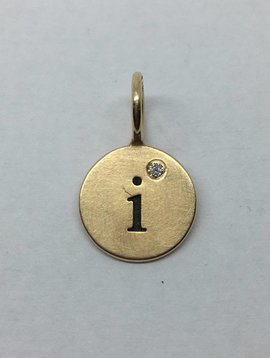 "Heather Moore ""I"" Gold Circle Charm"