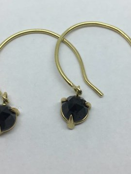 Lindley Gray Black Spinel Open Hoops
