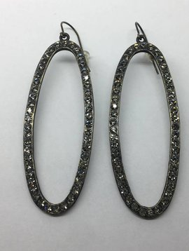 Rebel Design Oval Crystal Open Hoop