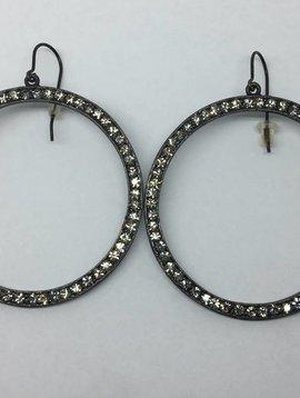 Rebel Design Black Crystal Open Hoop