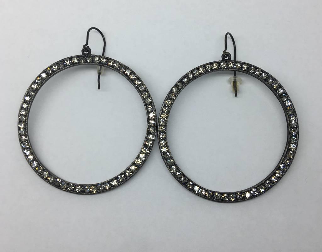 Rebel Design Black crystal hoops