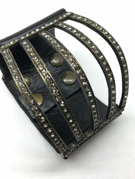 Rebel Design Crystal and Leather Cuff