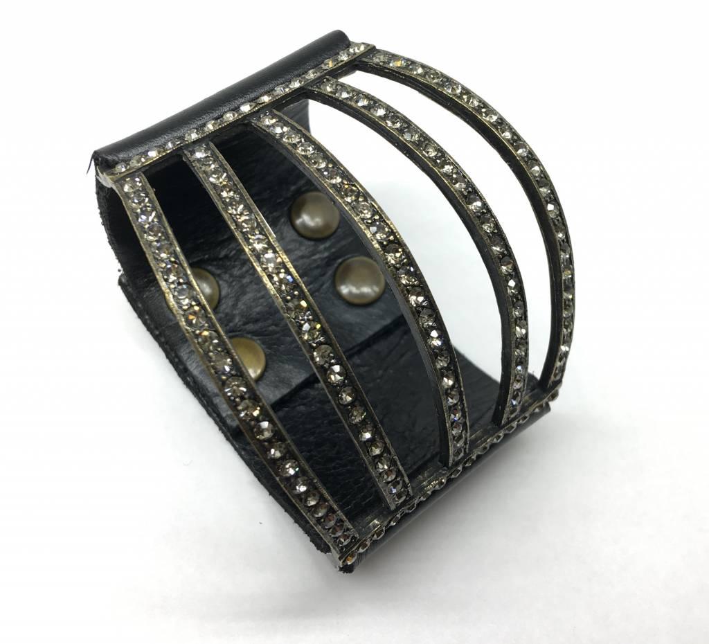 Rebel Design Swarovski Crystal and Leather Cuff