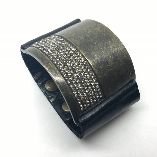 Rebel Design Swarovski Crystal and Black Leather Cuff