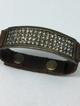 Rebel Design Crystal Brown Leather Cuff