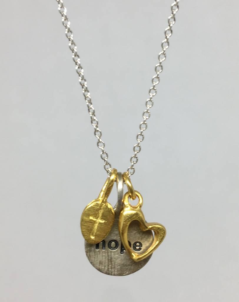 B.U. Faith, hope, love, necklace